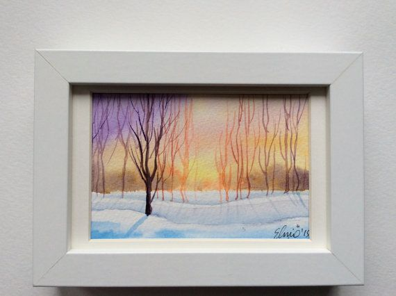 Lovely sunset glow in this unique lively and fresh original postcard handpainted with watercolors. I featured bare trees on a snowy scene against a sunset in this one. Sunsets are one of the best scenes for painters and I adore that time of the day. By UNIQUEPOSTCARDS