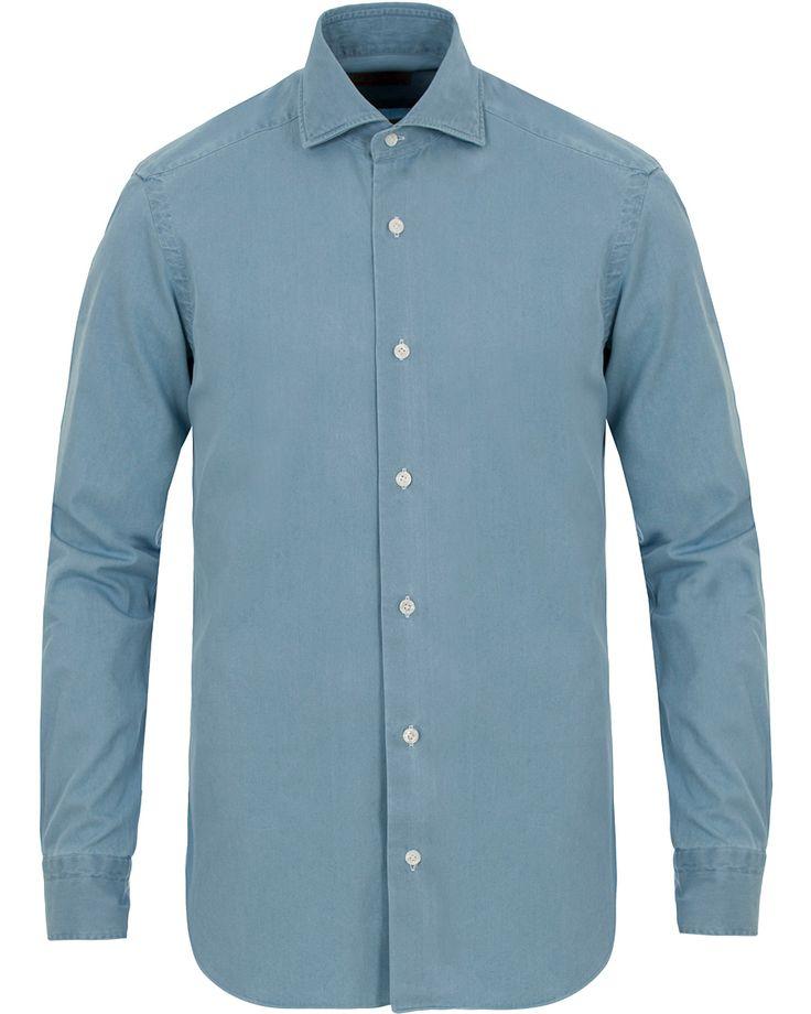 Barba Napoli Dandylife Slim Fit Denim Shirt Light Blue i gruppen Skjortor / Jeansskjortor hos Care of Carl (13694611r)