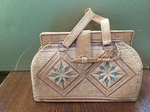 Tooled Leather Purse Stamped Leather Purse Funky Tooled