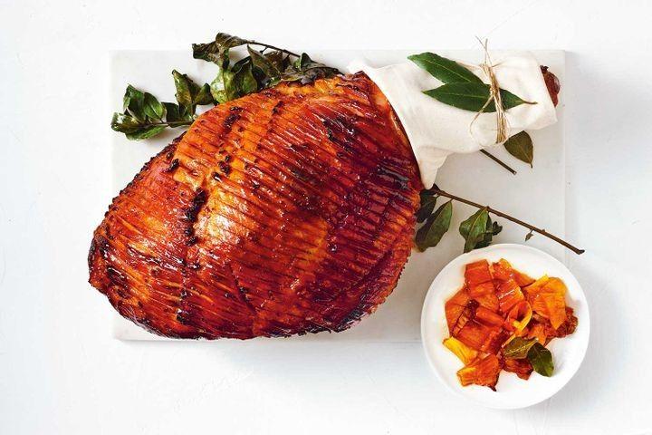 Bourbon and pineapple glazed ham