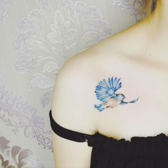 Bluebird tattoo by Suantsai