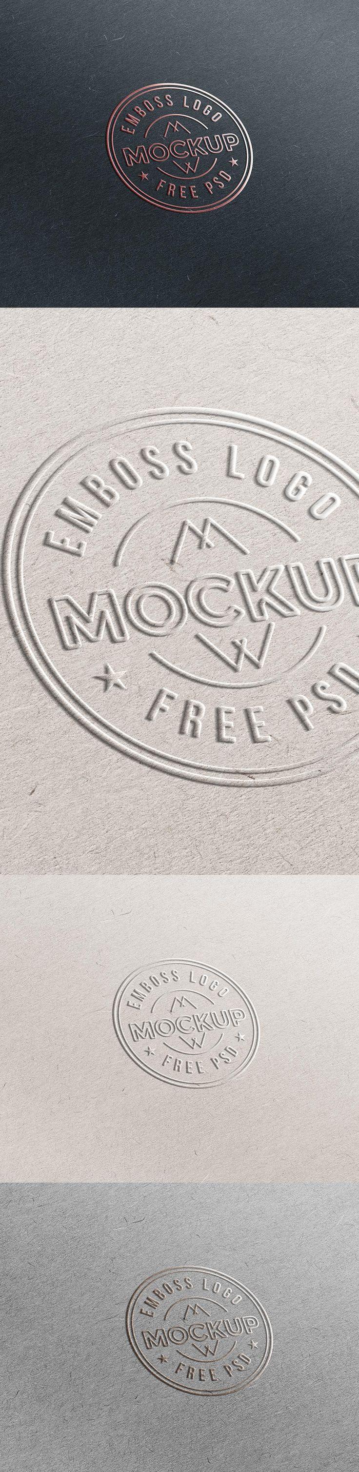 Emboss Paper #Logo #Mockup #PSD