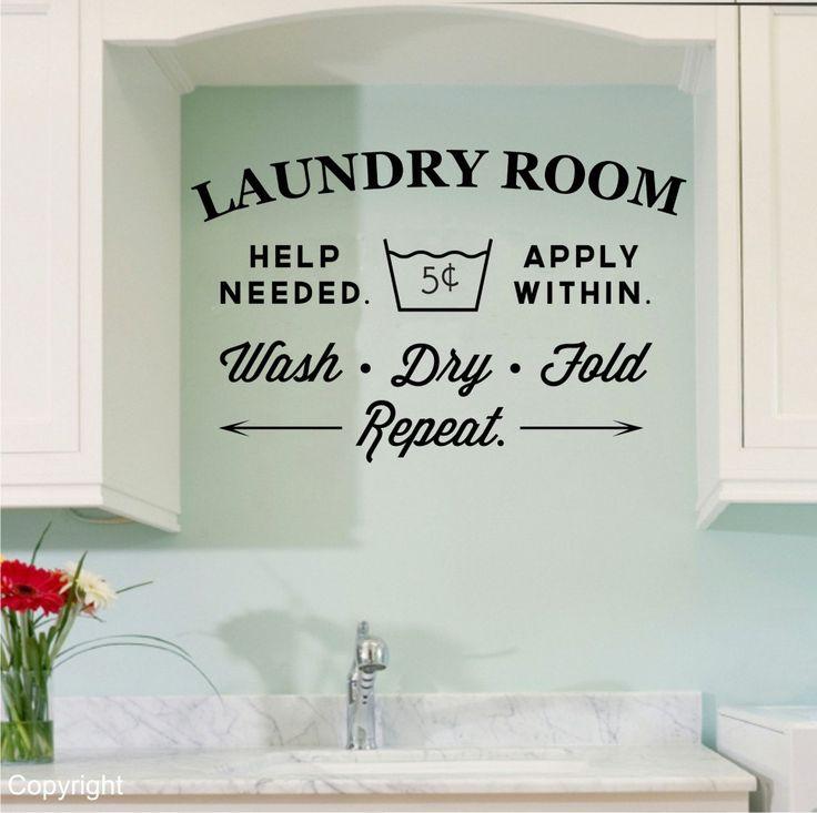 Vintage Laundry Room Wall Decal. $32.00, via Etsy.