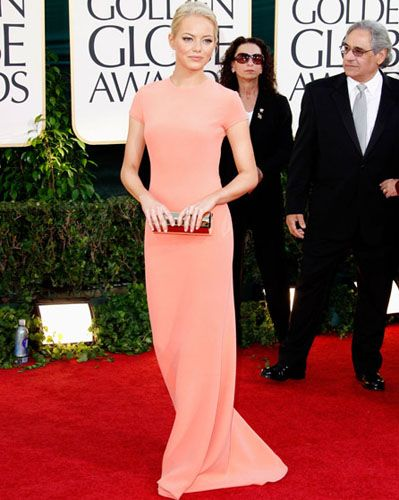 Emma Stone at her best - in Calvin Klein.Designer Dresses, Salmon Dresses, Calvin Klein, Design Dresses, Golden Globes, Red Carpet Dresses, Silver Line Playbook, Red Carpets Dresses, Emma Stones