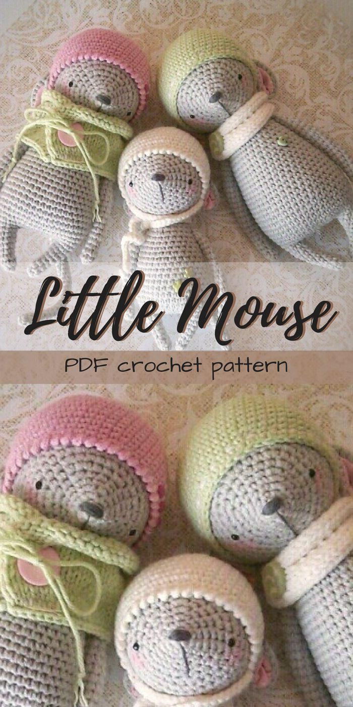 Adorable Little Mouse Amigurumi Crochet toy pattern. I love this gorgeous little mice pattern. Looks like a lovely DIY stuffed animal project that would work up quickly. Beginner/easy skill level. #etsy #ad #amigurumi #instantdownload #pdf #crochetpattern