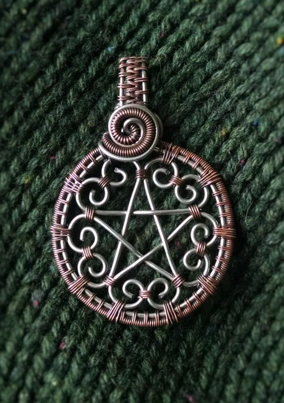 Hearts Pentacle pendant wire wrap copper pendant silver