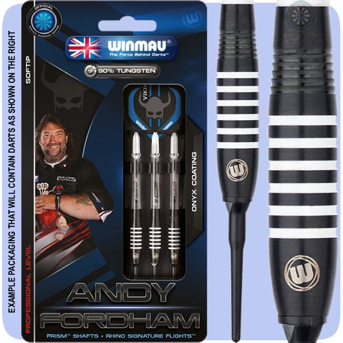 Winmau Andy Fordham Darts - Soft Tip Tungsten - The Viking - Onyx - Ringed - 18g ST - Black - http://www.dartscorner.co.uk/product_info.php?products_id=19472