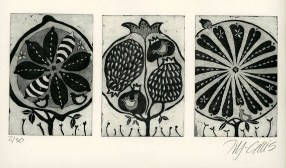 etching, pomegranate, lemon, orange tree, stylized, in black and white with birds, seeds and flowers