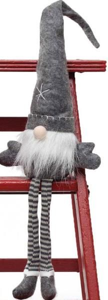 The gnomes have come to town ready to accent your Christmas decor. These can sit on any shelf or nestle in a little space to add some whimsy. Available in grey/