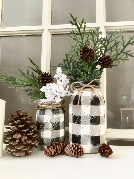 Hand painted buffalo check mason jar! The season is upon us! These cute little jars will cozy up your decor this winter season