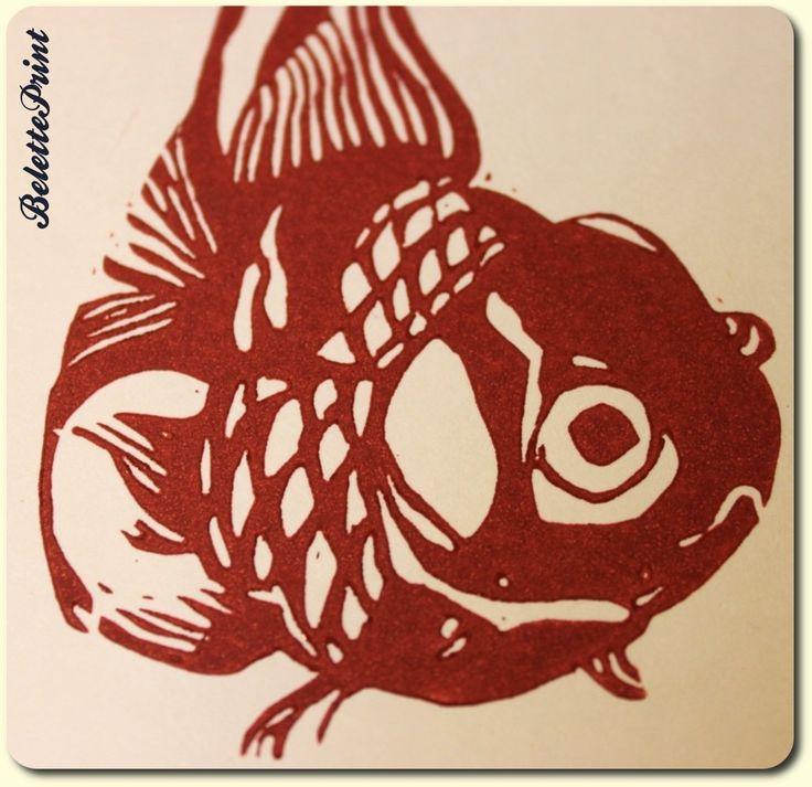 Cartes poisson rouge linogravure originale.