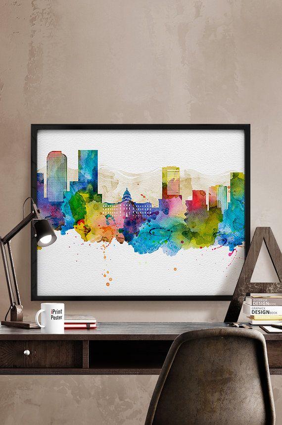 Denver poster, watercolor Denver skyline, Denver watercolor print, Denver Colorado, wall art, travel poster, home decor, iPrintPoster.
