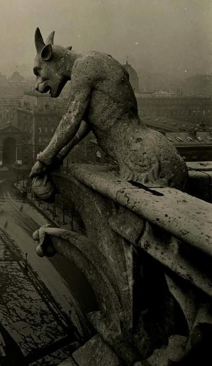 Amazing vintage photo of the famous gargoyle at Notre Dame