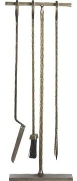 Antiqued Brass Fireplace Tool Set - contemporary - Fireplaces - Crate&Barrel