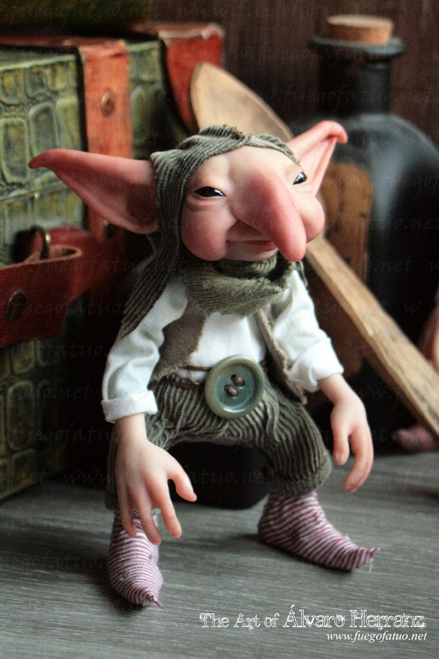MADE TO ORDER - House Brownie - ooak art doll sculpture fairy brownie pixie goblin. €155.00, via Etsy.