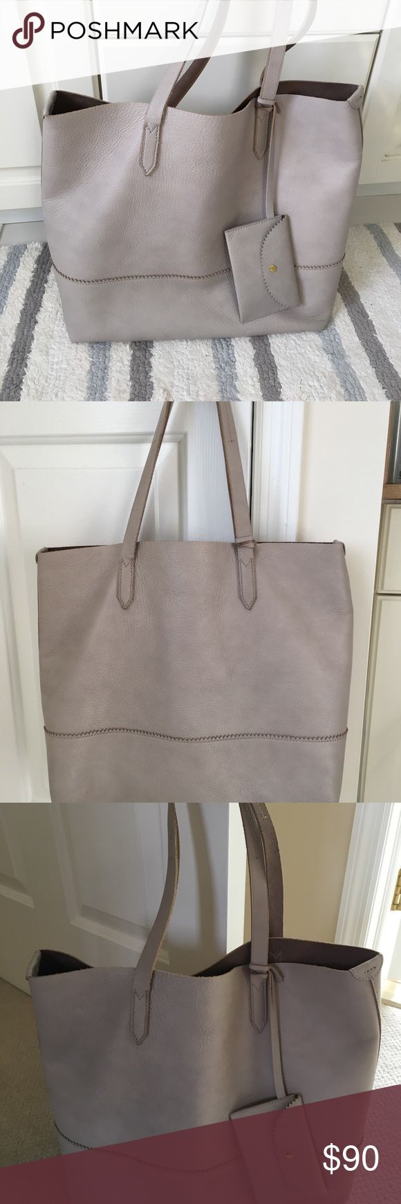 J Crew Tote Light gray soft leather tote in perfect condition. J. Crew Bags Totes