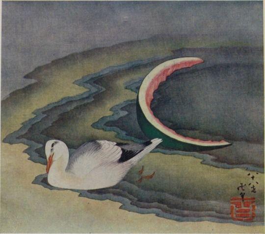 """浮世絵概観 井上和雄 解説 1933年    国立国会図書館デジタルコレクション    都鳥に西瓜 葛飾北斎 画 1847年    """"『百歳にして初めて眞の畫家となるべし』と嘆じた北齋は、九十歳の歿時に至るまで、孜々として作畫に熱中した。此の圖は彼れが八十歳(弘化四年)の筆で…"""""""