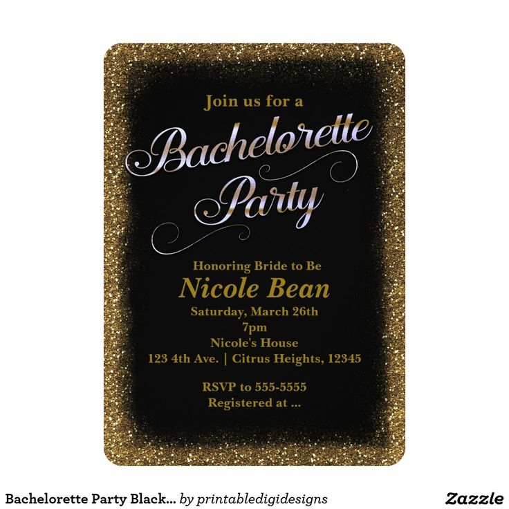 funny bachelorette party sayings for invitations%0A Bachelorette Party Black  u     Gold Glitter Invitation