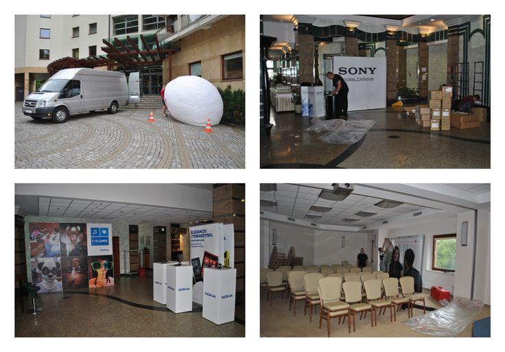 Stoiska prawie gotowe, balony nadmuchane, telebimy na sali konferencyjnej stoją. Przygotowani na jutro! :)