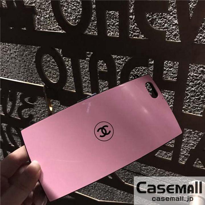 CHAENL iphone8ケース コンパクト型 iphone8PLUS カバー シャネル フェイスパウダーデザイン 芸能人愛用 ピンク チェーン付き