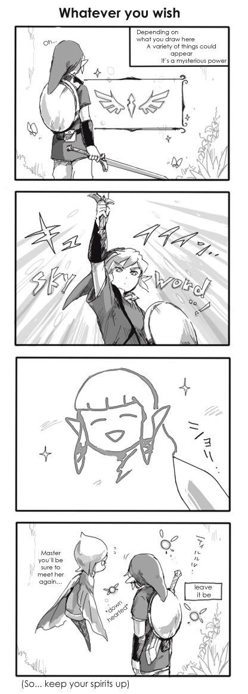 Lastimosamente, los deseos de la diosa no pueden traer devuelta a la princesa Zelda cuando la dibujas con la espada divina...