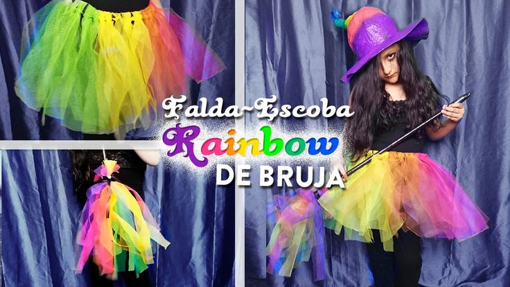 Serie DIY Falda y escoba de bruja arcoiris | DIY rainbow witch tutu and ...