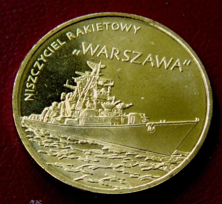 2 злотых Военные корабли ракетный эсминец Варшава 2 Zloty Warszawa