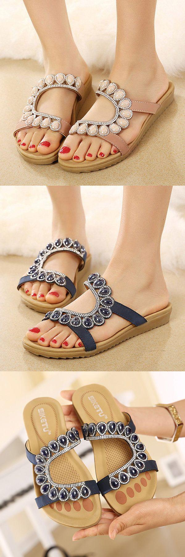 US$18.94 Bead Shiny Crystal Peep Toe Flat Lazy Sandals