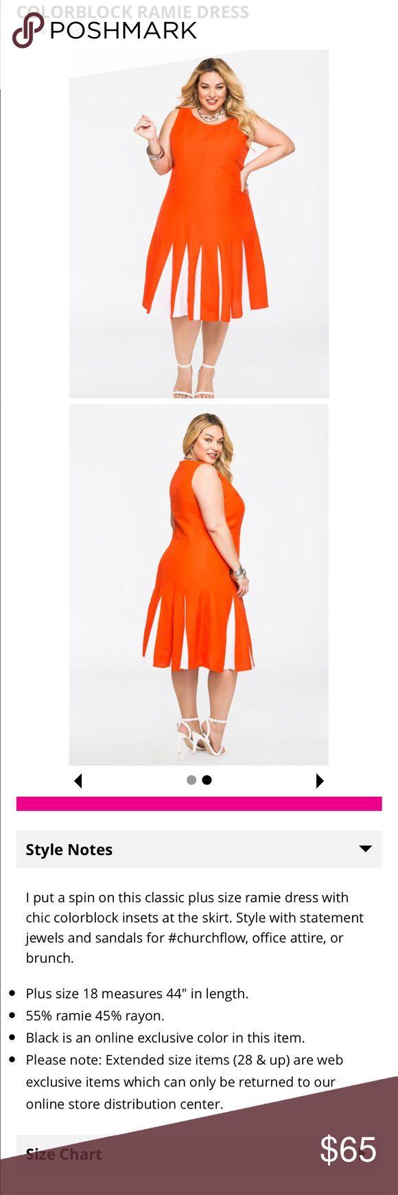 Womens Plus Size Color Block Ramie Dress Go out on the town with this Ramie color block dress Ashley Stewart Dresses