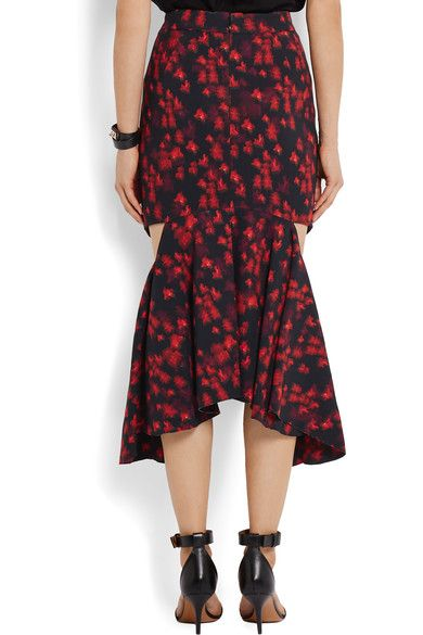 Givenchy - Cutout Ruffled Midi Skirt In Floral-print Stretch-satin - Red - FR36