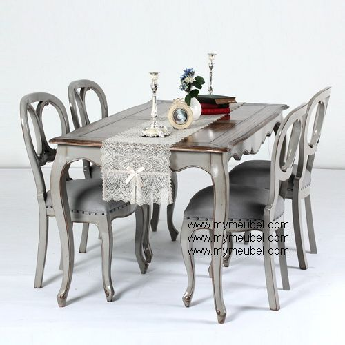 Antique Asha Dinning Table with 4 X Back Chair Style