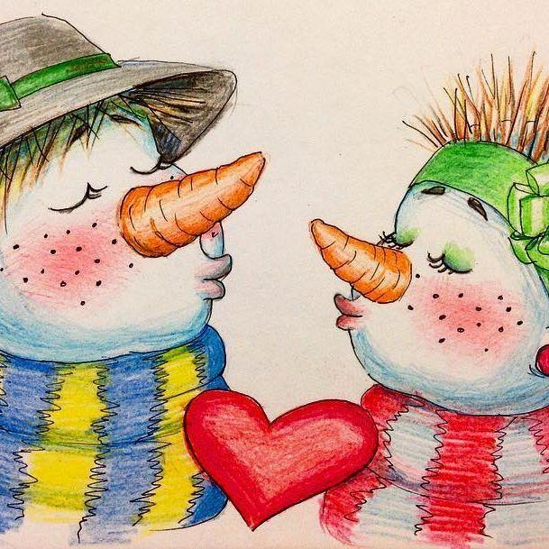 """""""Снеговиковая Любовь""""⛄️❤️⛄️ часто задавала себе вопрос: можно ли обычными детскими цветными карандашами что-то нарисовать, попробовала: сложно, но можно))) для наивных мультяшных иллюстраций такие карандашики вполне годятся #мои_снеговики80 #снеговик #снеговики #зима #новыйгод #любовь #нежность #семья #сказка #детство #длядетей #иллюстратор #иллюстрация #иллюстрацияназаказ #цветныекарандаши #скетч #скетчбук #скетчинг #наив #naiv #illustration #illustrator #instaillustration #sketch #ske..."""