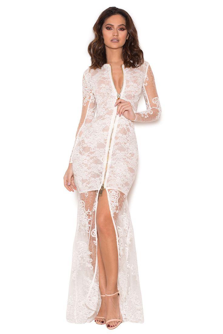 sheer maxi dress white