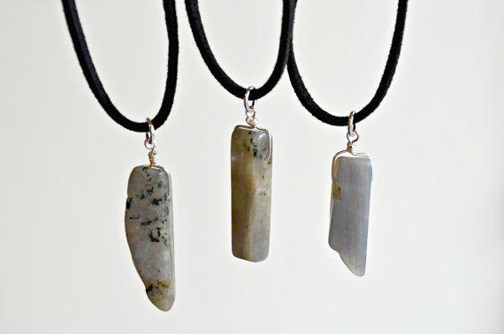 Leather Labradorite Necklace Choker Crystal by IndigoLizard