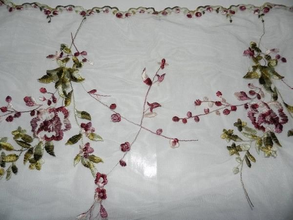 Sheer floral shawl or table runner 50 x 190cm. This item will require Satchel Size Shipping within Australia.Please note: We have divided our postage up into 6