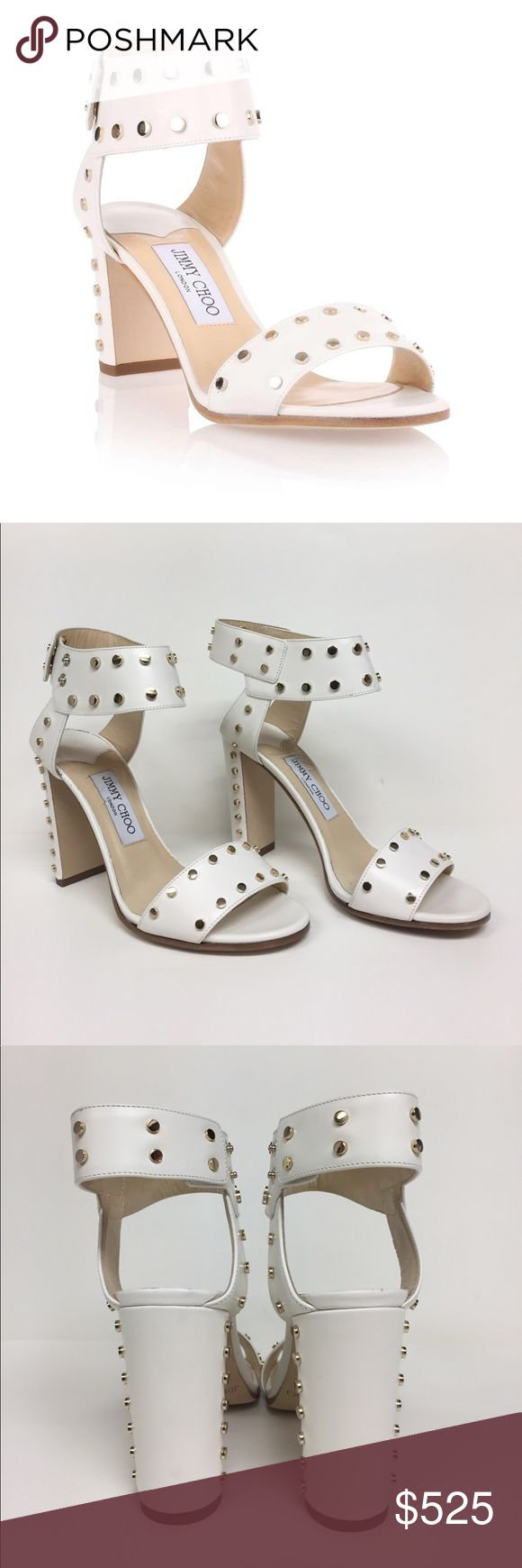 "Jimmy Choo Veto White stud Rockstud Sandals Clean linear lines are unjected with personality. White leather with gold studs  Snap closure.,Bold look that does not feel heavy., heel is 4"" Lightly worn. You can see that they are in fabulous condition. Jimmy Choo Shoes Sandals"