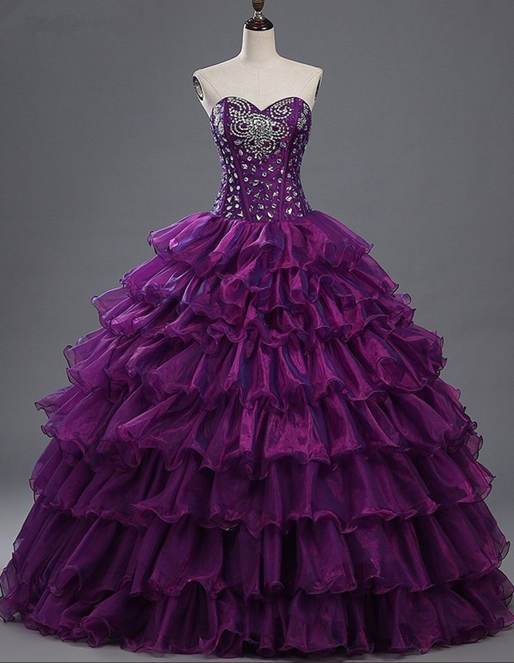 Real Photo 2017 Purple Quinceanera Dresses Sweethert Crystals Organza Ball Gown Vestidos De 15 Anos Sweet 16 Dresses
