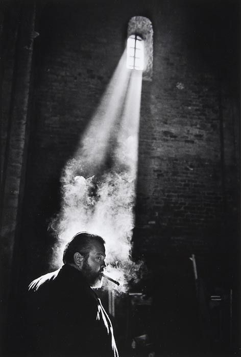 Orson Welles while filming Chimes at Midnight, Spain, 1964.  Photograph by Nicolas Tikhomiroff