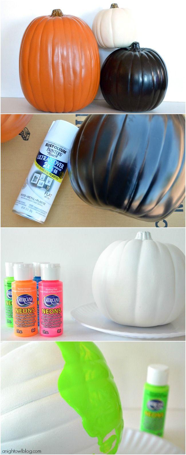 Neon Paint Dipped Pumpkins - A Night Owl Blog