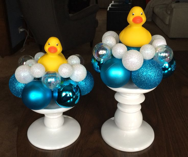 "DIY Rubber Ducky Centerpieces *** Candle Bases: Bath & Body Works *** ""Bubbles"": Hobby Lobby Xmas ornaments *** 3"" Rubber Ducky: EBay"