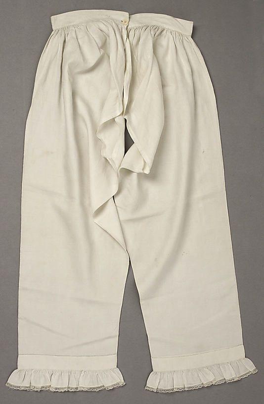 Underpants (drawers)  Date: 1830s Culture: American Medium: linen