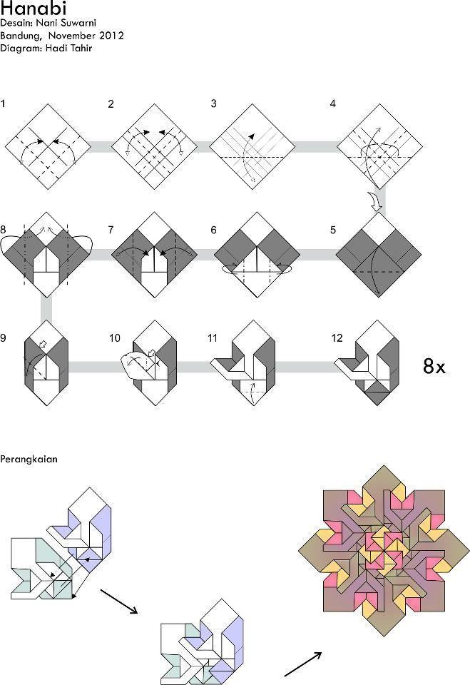 Origami Hanabi Mandala Folding Instructions | Origami Instruction