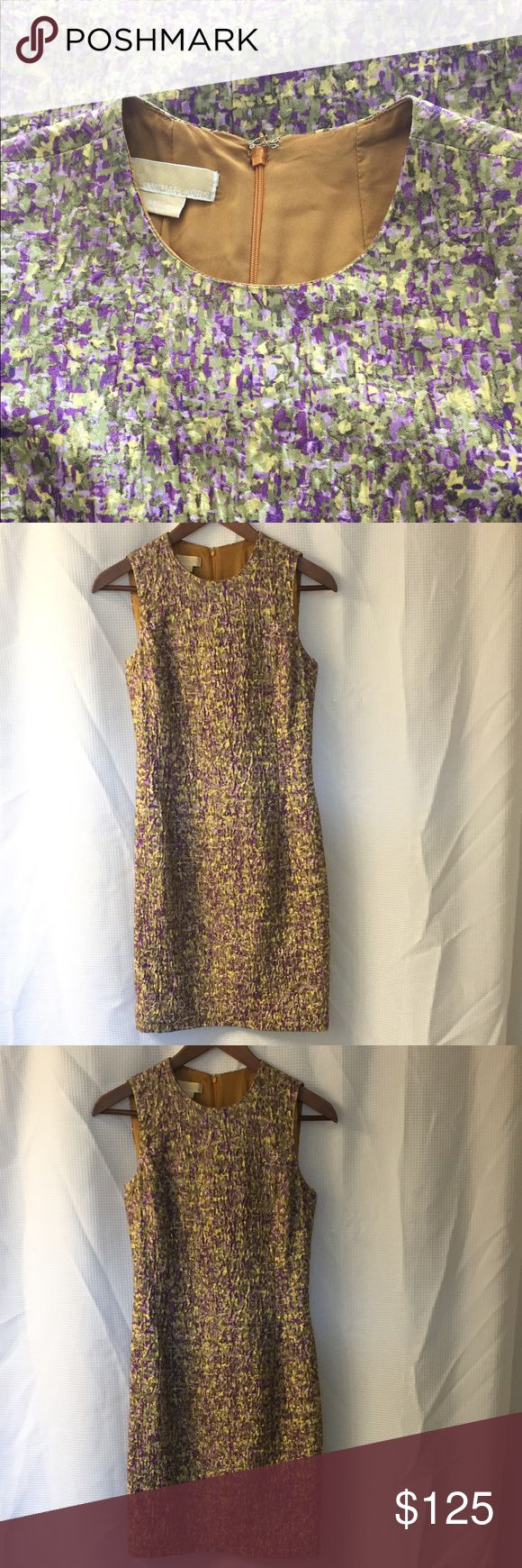 """NWOT Michael KORS Collection Sheath Camo Dress Stunning MICHAEL KORS MADE IN ITALY sheath dress. The is a well made dress with a beautiful green, yellow, and purple camouflage Print. New without tags. 36.5"""" long, 30"""" chest, Michael Kors Dresses"""