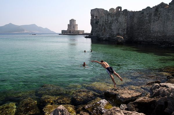 Messna region, Greece. Can you imagine swimming right next to those beautifully decaying ruins?