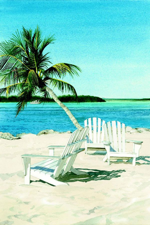 Adirondack Chairs Near Palm Tree At The Beach; Watercolor Painting, Limited  Edition Giclee,