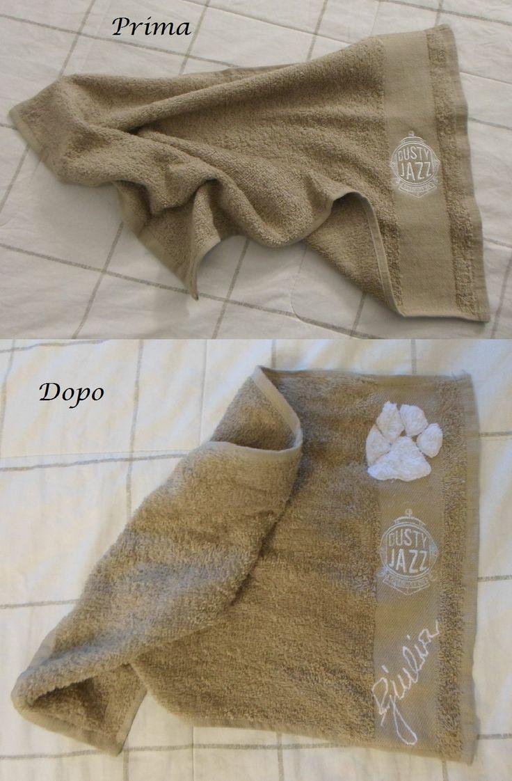 Asciugamano personalizzato: una cara amica vegana, con tanta fiducia mi chiede di personalizzare l'asciugamano che usa quando va a scuola di ballo....'Certo!!!' dico io, ho pensato ad un'impronta per la futura veterinaria.