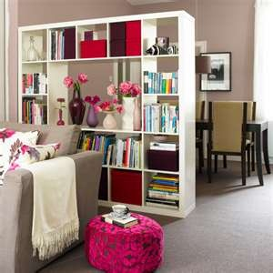Way to divide living room and dining room - shelves from IKEA - good for small apt living NYC or Paris