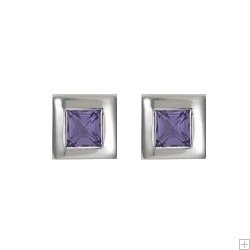 Childrens Silver Amethyst Zirconia Princess Cut Stud Earrings