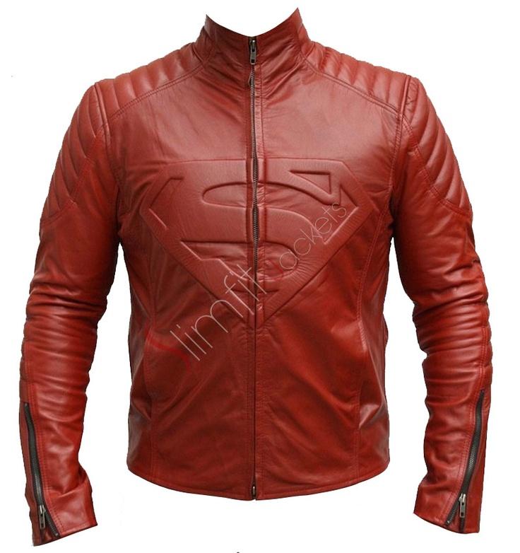 Superman Replica Smallville Red Leather Jacket Black