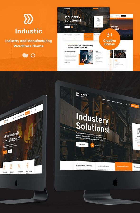 Industic Factory And Manufacturing Wordpress Theme A Modern And Responsive Design Busin Creative Wordpress Themes Wordpress Theme